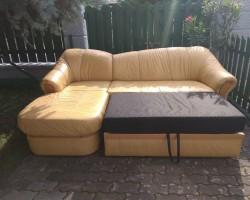 Kanapa narożna+ fotel skóra naturalna, funkcja spania